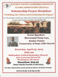 MYLIAA Prayer Breakfast with Pastor Tony Lee